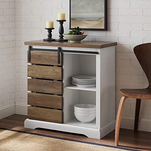 "WE Furniture AZF32ALSDRO Buffet, 32"", Solid White/Rustic"