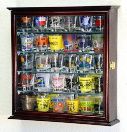 4 Adjustable Shelves Shot Glass Shotglass Shooter Mini Liquor Display Case Cabinet w/Mirror Back ...