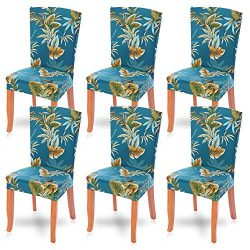 SearchI Dining Room Chair Covers Slipcovers Set of 6, Spandex Fabric Fit Stretch Removable Washa ...
