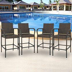 SUPER DEAL Wicker Bar Stool Outdoor Backyard Rattan Chair Patio Furniture Chair w/Iron Frame, Ar ...