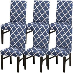 6 Pack Chair Slipcovers for Dining Room, Washable Spandex Dining Chair Covers Sets for Kitchen H ...
