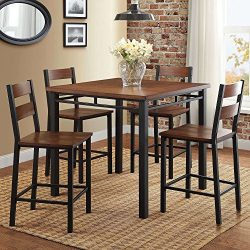 Counter Height Dining Set Table And 4 Chairs, Durable Metal Construction, Square Shape, Footrest ...