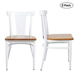Dining Room Chairs Set of 2 Wood Seat and Metal Leg Heavy Duty Modern Side Chairs for Kitchen Re ...