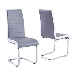 Modern Dining Chairs Set of 2, Grey White Side Dining Room Chairs, Kitchen Chairs with Faux Leat ...