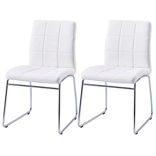 Modern Dining Chairs Set of 2, Dining Room Chairs with Faux Leather Padded Seat Back in Checkere ...