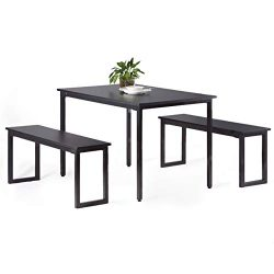 CharaHome Dining Table Set Wood Dining Table with Two Benches Chairs Modern Dining Set Dining Ro ...