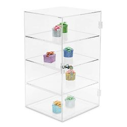 MOOCA Acrylic Lockable Showcase Display Stand with 3 Removable Shelves