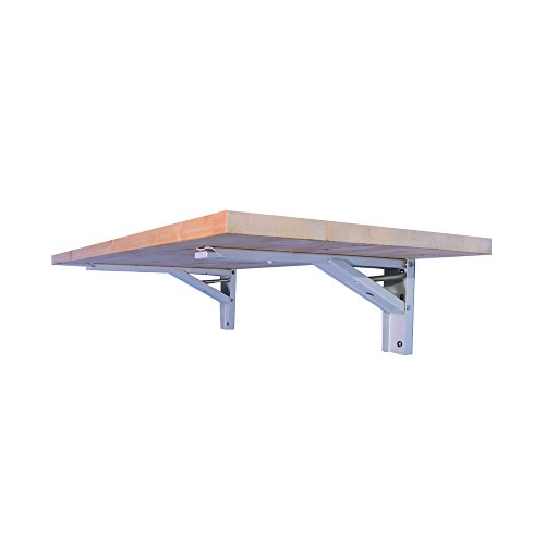 The Quick Bench folding wall mounted workbench with 20″ x 48″ collapsible butcher bl ...