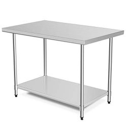 48″ x 30″ NSF Stainless Steel Table, Heavy Duty Commercial Kitchen Food Prep Table & ...