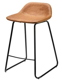 Cortesi Home CH-CS624959 Ava Counterstools in Saddle Brown Faux Leather, 25″ High