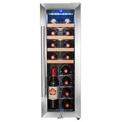 AKDY 20 Bottles Compressor Freestanding Wine Cooler Refrigerator Touch Panel Single Zone Chrome  ...