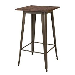 Glitzhome Modern Style Metal High Heavy-Duty Bar Table Wooden Top Bistro Sturdy Frame Pub Table