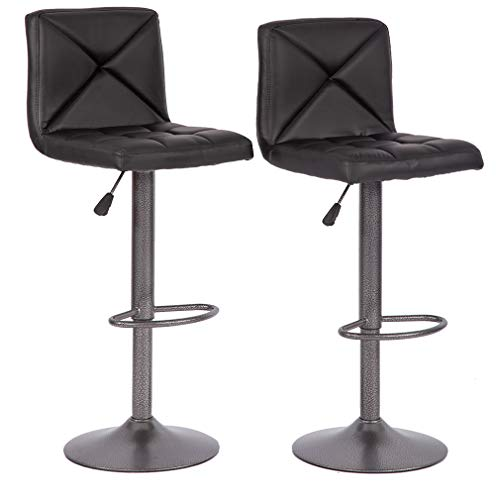 BestMassage Bar Stools Counter Height Adjustable Swivel Barstool Set of 2 with Back PU Leather K ...
