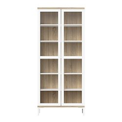 Tvilum 9217649ak Aberdeen 2 Door China Cabinet, White/Oak Structure