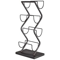Rivet Contemporary Decorative Curved Metal Countertop Standing Wine Racks – 22 x 10 x 7 In ...