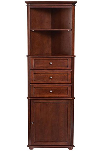 Home Decorators Collection Hampton Bay Corner Linen Bath Cabinet I, 3-DRAWER, SEQUOIA