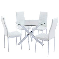 SICOTAS 5 Piece Round Dining Table Set,Modern Kitchen Table and White Chairs for 4 Person,Dining ...