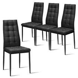 Giantex Set of 4 Fabric Dining Chairs Set, with Upholstered Cushion & High Back, Powder Coat ...