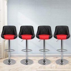 Magshion Faux Leather Bar Stools Adjustable 360 Degree Swivel Backrest Footrest Barstool Set of  ...