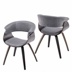 YEEFY Modern Living Room Chairs Upholstered Bent Wood Dining Chairs Set of 2 (Gray)