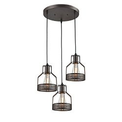 Truelite Industrial 3-Light Dining Room Pendant Rustic Oil-Rubbed Bronze Wire Cage Hanging Light ...