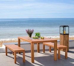 Safavieh PAT7029A Collection Dario Teak 3 Piece 59″ Table and 2 Backless Benches Outdoor D ...