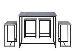 Abington Lane Kitchen Table Set with 4 Stools – Versatile, Tall, Modern Table Set for Any  ...