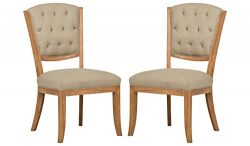 Stone & Beam Bergen Tufted Dining Room Kitchen Chairs, 38.6 Height, Set of 2, Hemp Beige, Wo ...