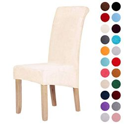 Velvet Stretch Dining Chair Slipcovers – Spandex Plush Short Chair Covers Solid Large Dini ...
