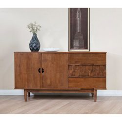 ModHaus Living Mid Century Modern 55 inch Brown Sideboard Buffet Cabinet with 2 Doors 2 Shelves  ...