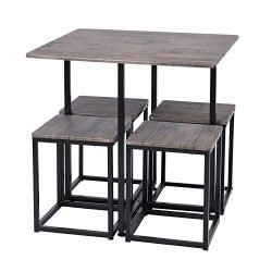 FurnitureR 5 Piece Wooden Metal Dining Table Sets Rectangle Table and 4 Round Chairs for Home Ki ...