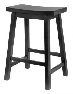 PJ Wood 24-Inch Saddle Seat Counter Stool – Black