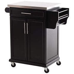 HOMCOM Wood Stainless Steel Multi- Storage Rolling Kitchen Island Utility Cart with Wheels ̵ ...