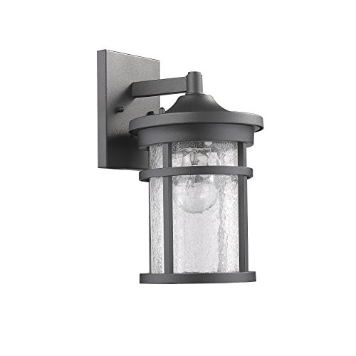 Edvivi Lyra Outdoor Wall Sconce Textured Black Finish Glass Cylinder Lantern Lamp Light | Tradit ...