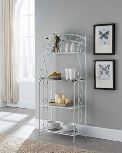 Kings Brand Furniture – Bulberry Metal Kitchen Storage Baker's Rack, White