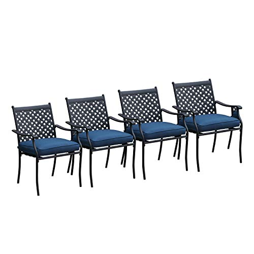 LOKATSE HOME 4 Piece Outdoor Patio Metal Wrought Iron Dining Chair Set with Arms and Seat Cushio ...