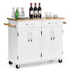 Giantex Kitchen Trolley Cart, Rolling Utility Island w/Rubber Wood Top, Large Storage Easy-Clean ...