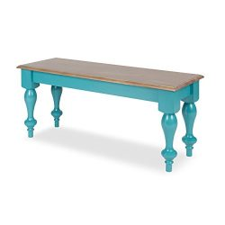 Kate and Laurel Sophia Rustic Wood Top Bench, Teal