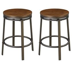 O&K FURNITURE 24-Inch Backless Swivel Bar Stool, Industrial Kitchen Counter Height Stool Cha ...