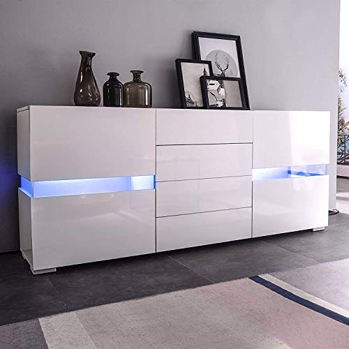 Mecor Sideboard Cabinet Buffet,Kitchen Sideboard and Storage Cabinet/TV Stand High Gloss LED Din ...