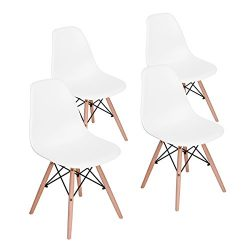 HOMY CASA Mid Century Modern Style Eames Seat Height Natural Wood Legs Armless Chairs for for Ki ...