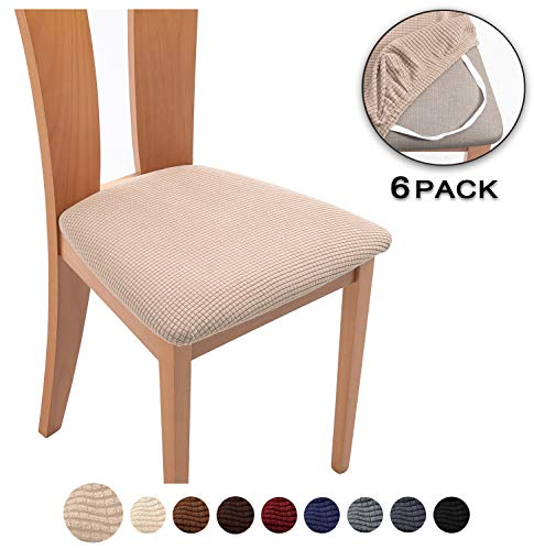 TIANSHU Spandex Jacquard Dining Room Chair Seat Covers,Removable Washable Elastic Cushion Covers ...