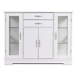 Giantex Console Table Sideboard W/ 2 Drawers, 3 Cabinets and Glass Doors for Kitchen Dining Room ...