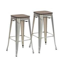 Buschman Set of 2 Galvanized Wooden Seat 30 Inch Bar Height Metal Bar Stools, Indoor/Outdoor, St ...