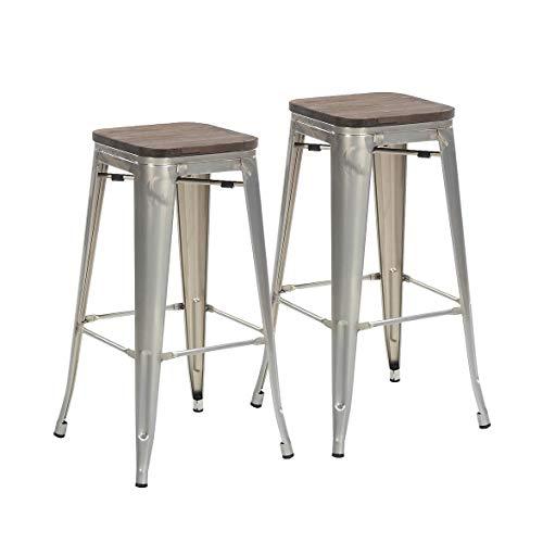 Buschman Set of 2 Galvanized Wooden Seat 30 Inch Bar Height Metal Bar Stools, Indoor/Outdoor, St ...