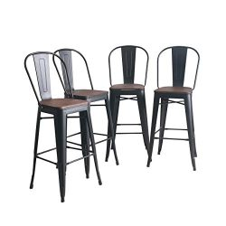 YongQiang Metal Barstools Set of 4 Indoor Outdoor Bar Stools High Back Dining Chair Counter Stoo ...
