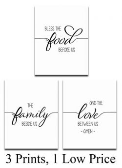 Food, Family, Love Prayer – Set of 3-11×14 Unframed Typography Art Prints – Gre ...