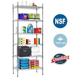 NSF Wire Shelf Organizer 6 Wire Shelving Unit Metal Storage Shelves, Utility Commercial Grade He ...