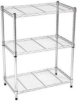 AmazonBasics 3-Shelf Shelving Storage Unit, Metal Organizer Wire Rack, Chrome Silver