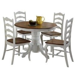 French Countryside Oak/White 42″ Round Pedestal Dining Table with 4 Chairs by Home Styles